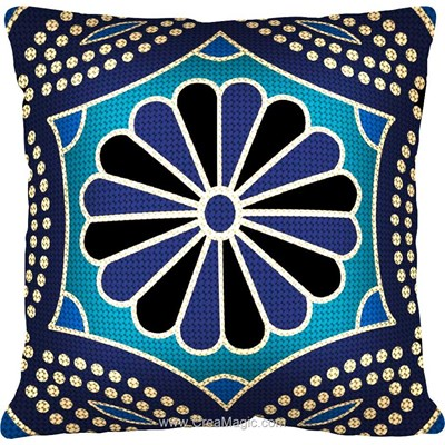 Kit coussin au demi point Margot bleu