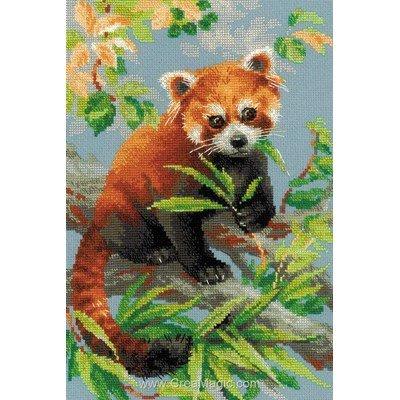 Panda rouge broderie au point de croix compté - RIOLIS