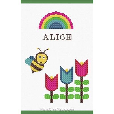 Kit protège carnet de santé bébé à broder abeille et fleurs de Princesse