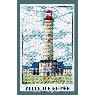 Tableau broderie point de croix phare belle ile en mer - Le Bonheur Des Dames