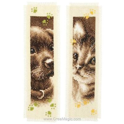 Marque page chien et chat - lot de 2 à broder Vervaco