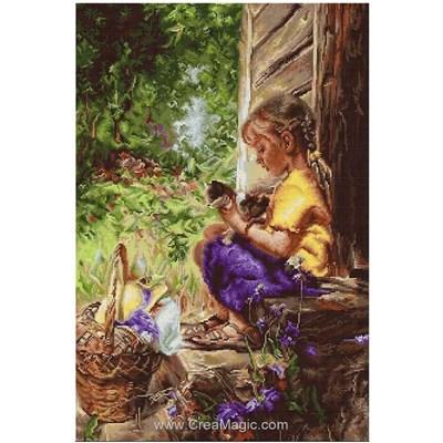 Tableau broderie point de croix Luca-S petite fille à l'entrée de la grange