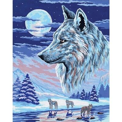 Canevas Collection d'art loups d'alaska au clair de lune