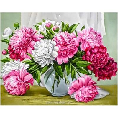 Kit broderie diamant vase aux fleurs généreuses - Wizardi