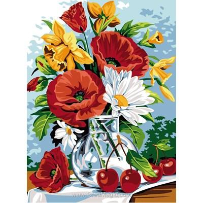 Vase jonquilles, coquelicots et marguerites canevas chez SEG