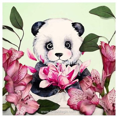Kit broderie diamant panda dans les fleurs - Wizardi