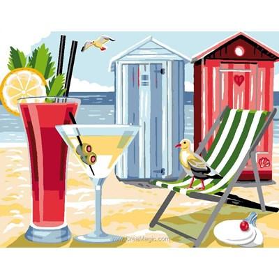 Jus de fruits et cabine de plage canevas - Luc Création