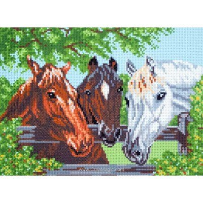 Kit broderie imprimée chevaux tricolore sur aida - Collection d'art