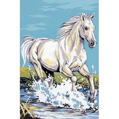 Cheval blanc galopant canevas de SEG