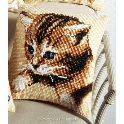 Kit coussin au point de croix chaton aux yeux bleus - Vervaco
