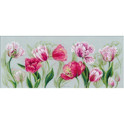 Kit broderie point compté printemps tulipes de RIOLIS