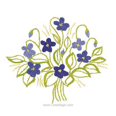 Kit de broderie traditionnelle Au Fil De L'Ange bouquet douceur violette