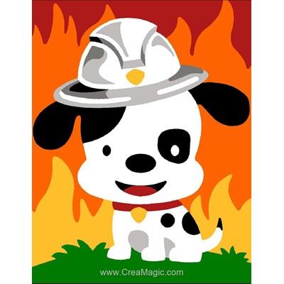 Kit canevas pour enfants Margot le chiot pompier