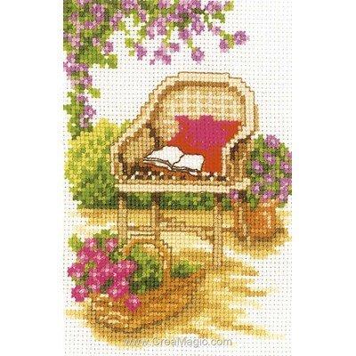 Mini kit de point de croix Vervaco le fauteuil du jardin