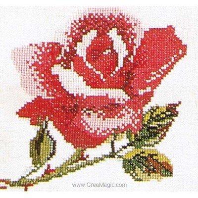 Broderie point de croix rose pink sur lin de Thea Gouverneur