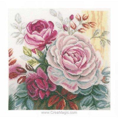 Modèle au point de croix roses entrelacées rose - Lanarte