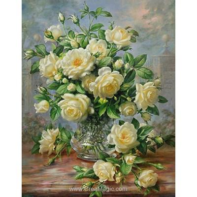 Kit broderie diamant Diamond Painting white roses