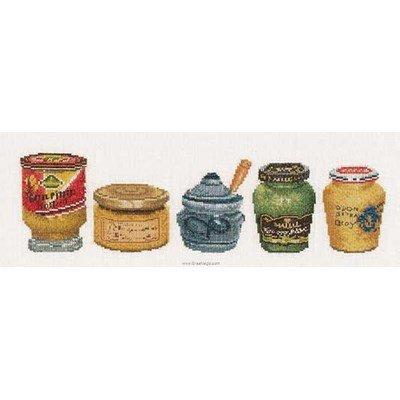 Kit Thea Gouverneur à broder pots de moutarde sur lin