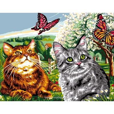 Chaque chat son papillon canevas chez Luc Création