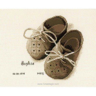 Broderie point de croix bébé premières chaussures - Vervaco