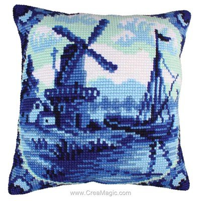 Coussin point de croix delftware de Collection d'art