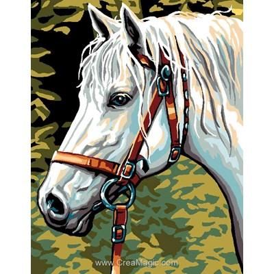 Pégase le cheval blanc canevas - Luc Création