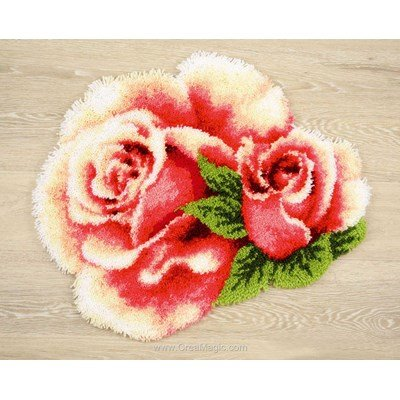 Tapis point noué roses roses - Vervaco