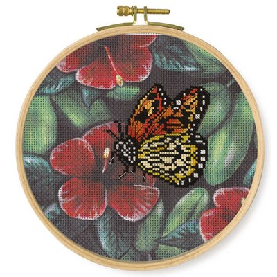 Broderie DMC papillon orange