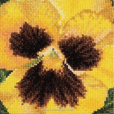 Kit tableau Thea Gouverneur point de croix pensée jaune sur aida