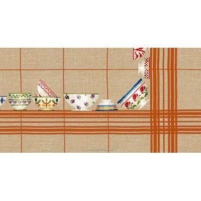 Kit nappe bols à carreaux orange 180x180 à broder au point de croix de Le Bonheur Des Dames