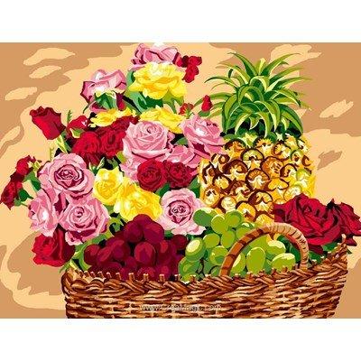 Luc Création canevas le panier de fruits et fleurs