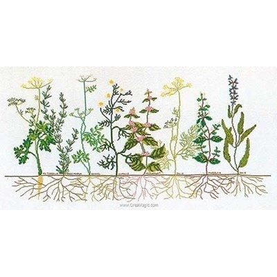 Tableau point de croix herbs sur lin de Thea Gouverneur