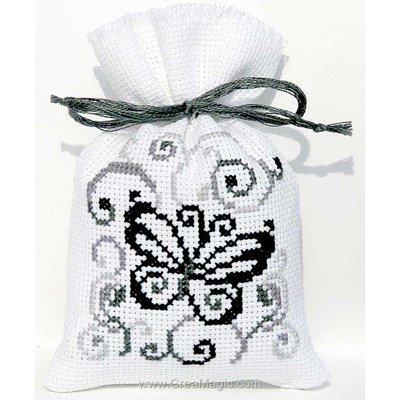 Sachet de senteur à broder papillon noir et blanc de Vervaco