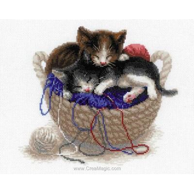 Point de croix à broder chatons dans le panier - RIOLIS