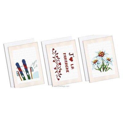 Kit carte lot de 3 cartes souvenir des alpes à broder - Marie Coeur