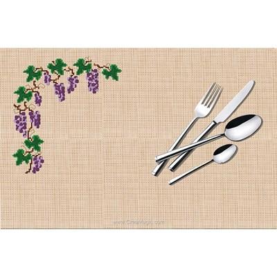 Set de table à broder au point de croix compte raisin - Luc Création