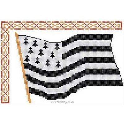 Luc Création broder en point de croix drapeau breton