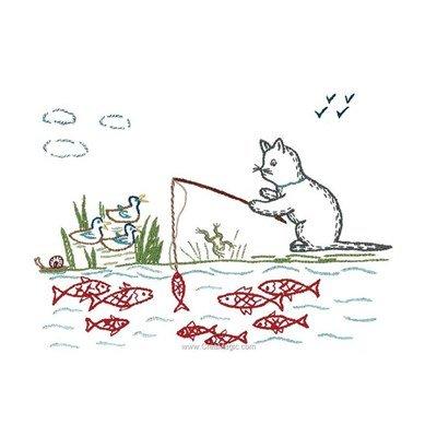 Broderie traditionnelle chat pêcheur - Au Fil De L'Ange