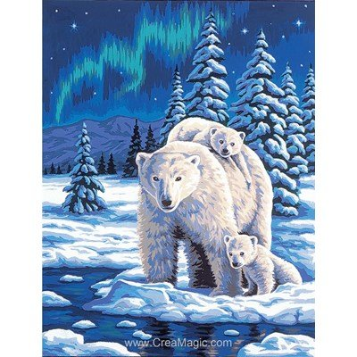Ours de la nuit polaire canevas - Margot