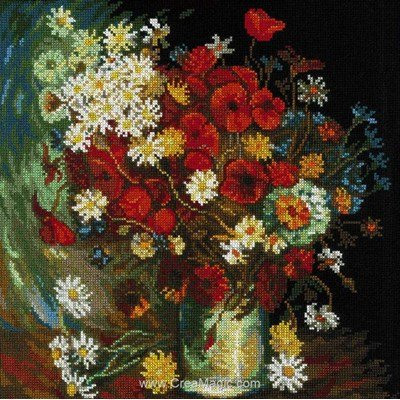 Tableau broderie point de croix still life with meadow flowers and roses after van de RIOLIS