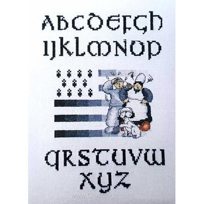 Abc drapeau breton kit point croix de Philomene à broder