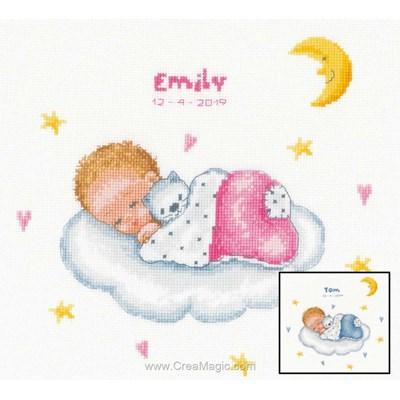 Kit broderie tableau naissance sommeil d'ange sur le nuage - Vervaco