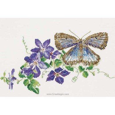 Broderie au point de croix butterfly-clematis sur lin de Thea Gouverneur