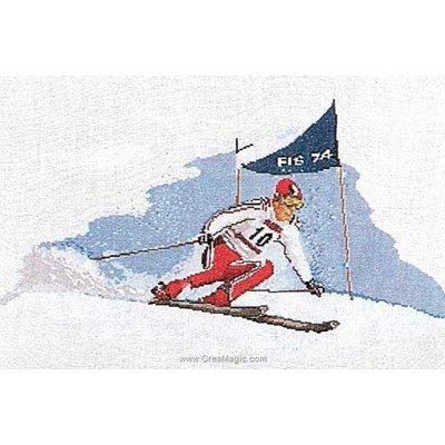 Kit broderie point de croix skieur sur aida - Thea Gouverneur