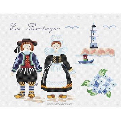 Broderie imprimée en kit Marie Coeur costumes traditionnels de bretagne