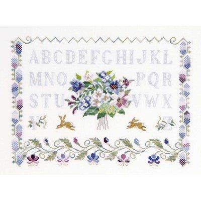 Abécédaire fleurs et lapins broderie - DMC