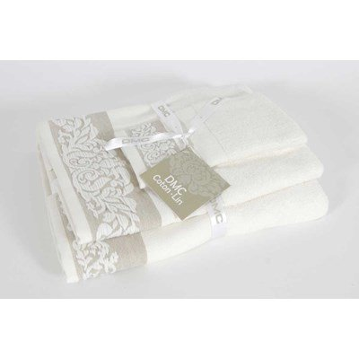 Lot d'éponges à broder arabesque (bain, toilette et invité) coton-lin 480 gr/m² de DMC