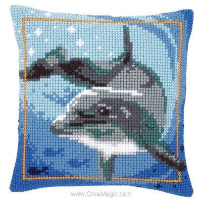 Kit coussin nage du dauphin de Vervaco au point de croix