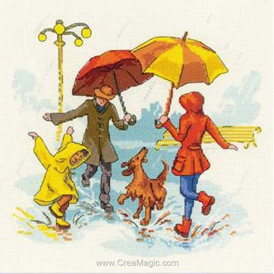 Jouons sous la pluie modèle RIOLIS au point de croix