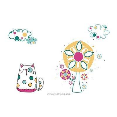 Broderie imprimée en kit tableau chat de Princesse